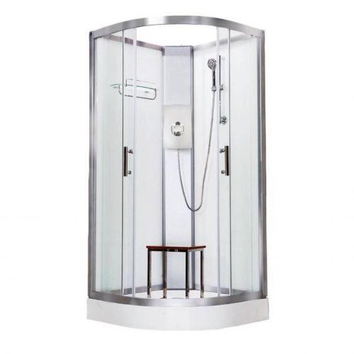 Vidalux Pure Electric 900mm Shower Cabin White - Gun Metal 8.5KW (20291)
