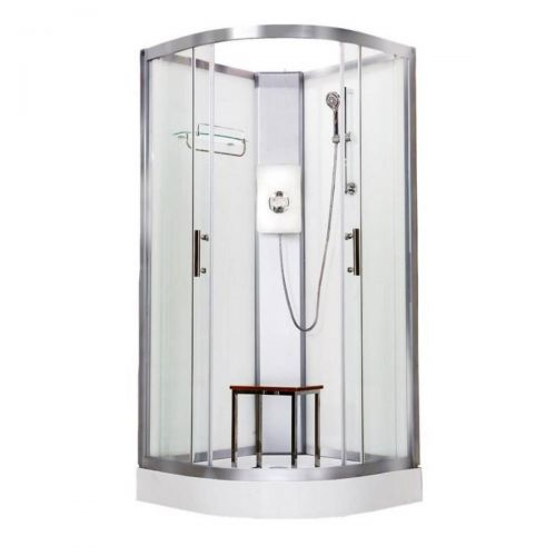 Vidalux Pure Electric 900mm Shower Cabin White - Lux White 8.5KW (20293)