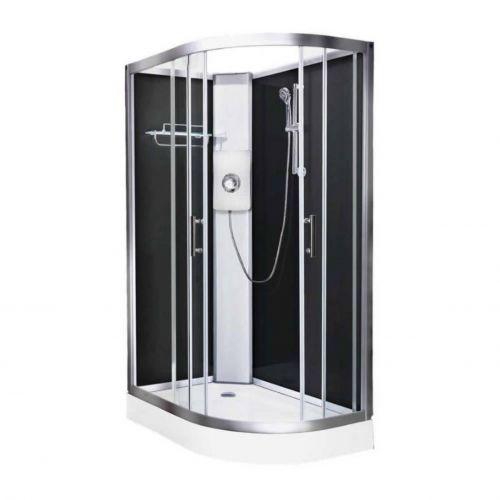 Vidalux Pure Electric 1200mm Shower Cabin Left Hand Black - Gun Metal 8.5KW (20227)