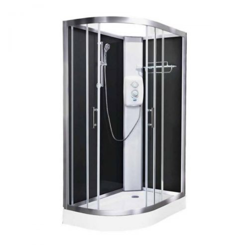 Vidalux Pure Electric 1200mm Shower Cabin Right Hand Black - Standard 8.5KW (20245)