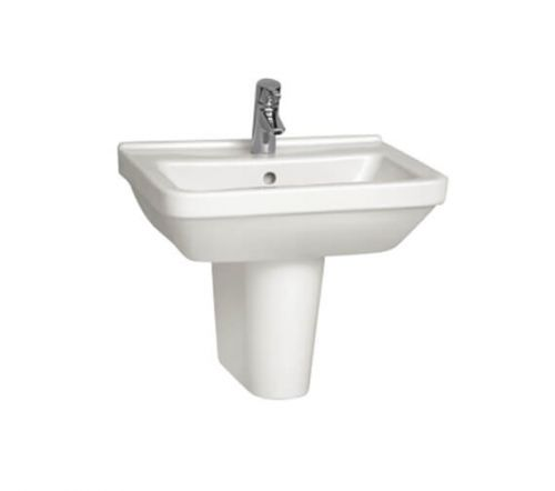 Vitra S50 Square 60cm Cloakroom Basin with Semi Pedestal (14744)