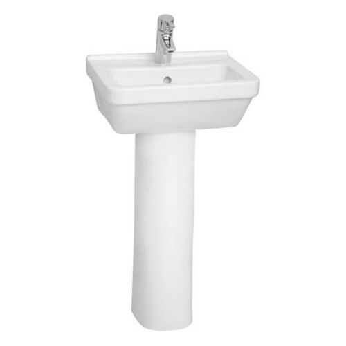 Vitra S50 Square 45cm Cloakroom Basin with Full Pedestal (14737)