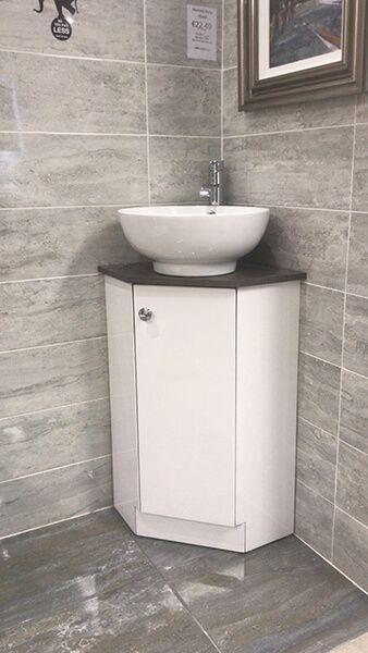 Alpina Floorstanding Corner Vanity Unit, Corner Bathroom Sink Vanity Units