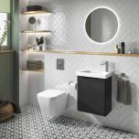 Happi 500mm Wall Mounted Cloakroom Vanity Unit & Basin - Matt Anthracite (19482)