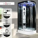 Insignia Premium 1100 x 700mm Quadrant Steam Shower Enclosure with Black Frame PR11L-OBF-CG-S - Left Hand (14870)