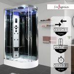Insignia Premium 1100 x 700mm Quadrant Steam Shower Enclosure with Chrome Frame/Clear Glass PR11L-OCF-CG-S - Left Hand (14740)